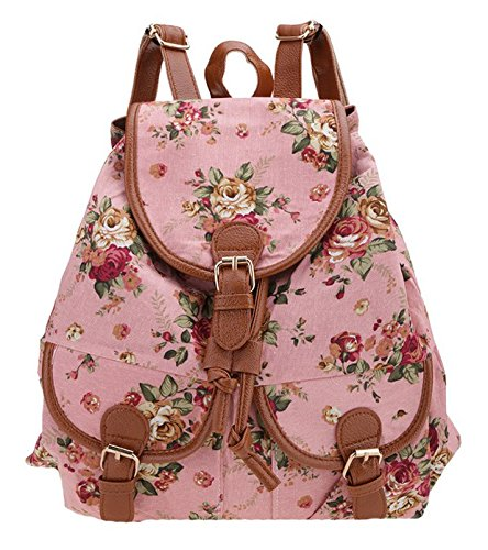 SAMGU Fleur Vintage Toile Voyage Randonnée Camping Backpack Sac d'école Cartable Femme File Couleur Pink