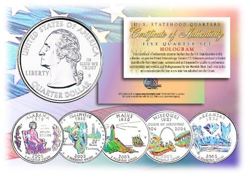 2003 US Statehood Quarters HOLOGRAM 5-Coin Complete Set w/Capsules & COA