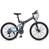Bicicleta de montaña Mountainbike Bicicleta Bicicleta de montaña, bicicletas de montaña marco de acero plegable, de doble suspensión y doble freno de disco, de 24 pulgadas / 26 pulgadas Ruedas Bicicle