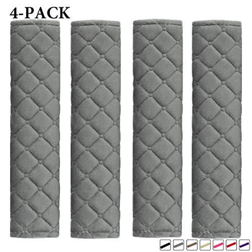 MIRKOO Car Seat Belt Cover Pad, 4-Pack Soft Car Safety Seat Belt Strap Shoulder Pad for Adults and Children, Suitable for Car Seat Belt, Backpack, Shoulder Bag, Laptop Computer Bag(4-Gray)