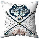 jonycm Cushion Cover Tier Wolf Krieger Native American