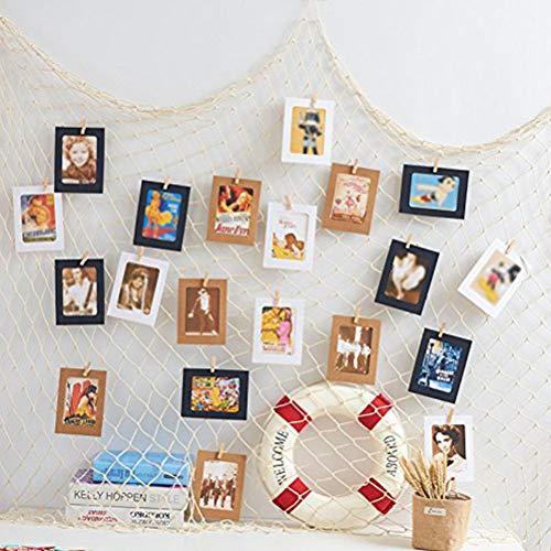 Ysoom - Red de pesca para colgar fotos, decoración de pared, collage para manualidades, marco de fotos, decoración de pared, 200 x 100 cm, red de pesca con 22 pinzas y 5 clavos sin dejar rastro