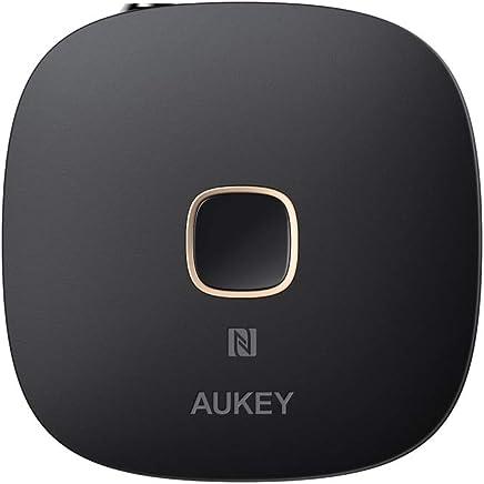 AUKEY Receptor Bluetooth 4.1, Adaptador Audio Inalámbrico con NFC y Manos Libres para Sistemas de Audio Domésticos y de Coche