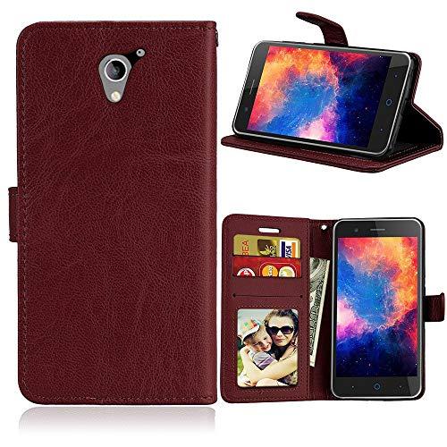 JEEXIA® Funda para ZTE Blade A510, Moda Business Flip Wallet Case Cover PU Cuero con Soporte Cubierta Protectora - Marrón