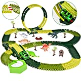 FUN LITTLE TOYS Funlittletoy Dinosaur Toys 232 PCs Race Tracks, Create A Dinosaur World Road Race, Flexible Track Playset with a Race Car and 6 Toy Dinosaurs, Xmas Gifts for 3-12 Years Old