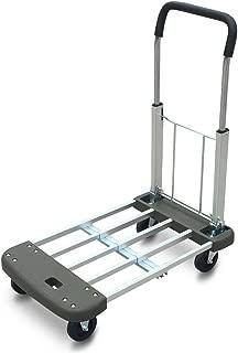 Wagons Hand Truck Aluminium Portable 4-Wheel Height and Length Adjustable Platform Cart Heavy Duty Strong Bearing Force, Gray