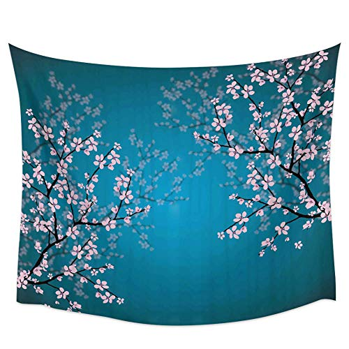 Hermosa Flor De Cerezo Tapiz De Pared Azul Cubierta Toalla De Playa Picnic Yoga Mat Decoración Del Hogar-51 'X59'