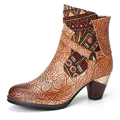 Camfosy Bottines Cuir Talons Femme, Boots Hiver en Cuir...