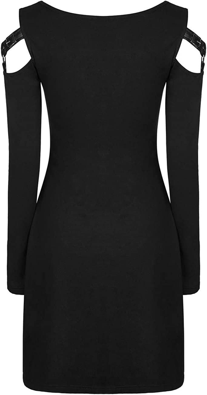 Punk Rave Gothic Sexy Slim Black Dress