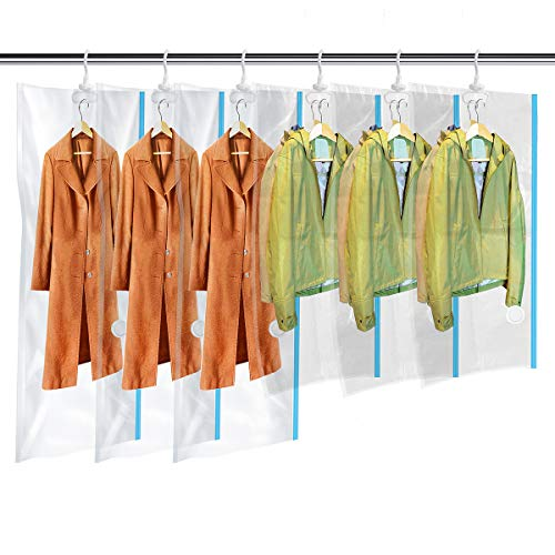 MRS BAG Hanging Vacuum Storage Bags 6 Pack (3Jumbo(57x27.6'') + 3Short(41.3x27.6'')) Space Saver Bag Dress Cover with Hook for Coats, Jackets, Clothes & Closet Storage - Hand Pump Included