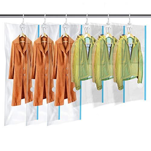 MRS BAG Hängend Vakuum Aufbewahrungsbeutel mit Kleiderhaken - Set aus 6 (3*Extragroß + 3*Kurz) Vakuumbeutel mit Handpumpe für Kleidung Aufbewahrung - Vakuum Platzsparer für zu Hause & Reise