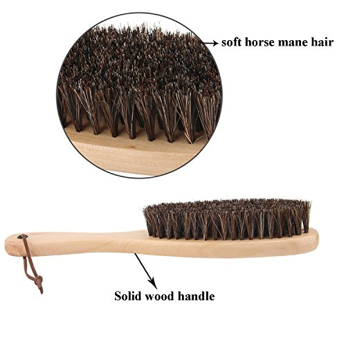 Clothes Brush Garment Brush Lint Remover Brush with Genuine Soft Horsehair and Wooden Handle for Coat Men Suits Shoes Jacket Furniture Car Mat and Pet hair by Cokaka (1-Pack solid wood)
