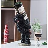 Porte-verres Porte-bouteille de vin en peluche chien, Countertop Affichage Porte-vin, protection de l'environnement Résine Bouteille de vin Organisateur, for cadeau amateur de vin ( Color : White )