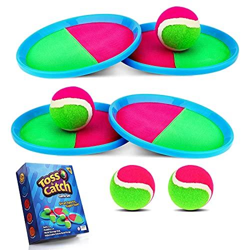 Weokeey Klettballspiel für Kinder, Klettball Set mit 4 Paddles und 4 Bällen Wasserdicht Klettball Spiel Klettspiel wurf Spiel für Hinterhof, Garten, Innen und Außen