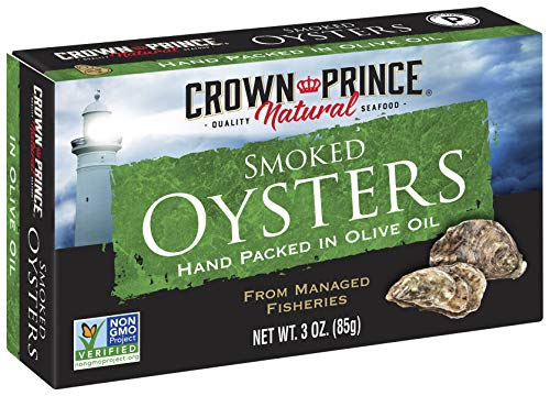 Crown Prince Natural Smoked Oysters in Pure Olive Oil,...