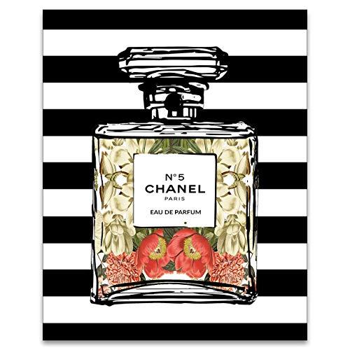Perfume Wall Art - Aesthetic Bedroom Decor for Women Teen Girls - Trendy Shabby Chic Room Decorations - No 5 Artwork - Fashion Poster - Designer Illustration - 8x10 UNFRAMED