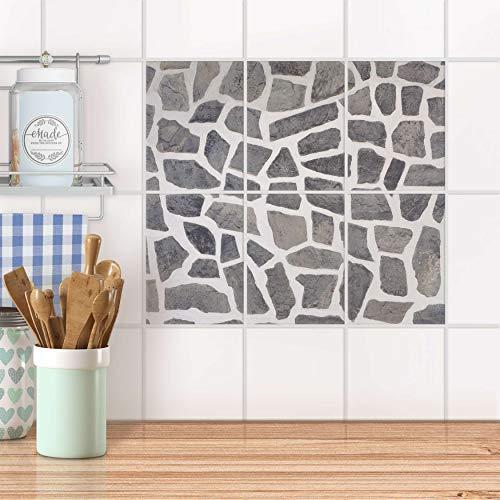 creatisto Mosaikfliesen für Bad und Küche I Fliesen Folie Sticker wiederablösbar I Fliesen verschönern - Fliesenmotiv für Bad- und Küchenfliesen I Design: Steinmosaik