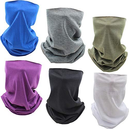 ZYUPHY Multifunción Bandana Pañuelos Cabeza Deporte Bufanda de Cuello Turbante Pasamontañas Tubo Protección UV Polainas de Cuello para Hombres y Mujeres,6 Piezas