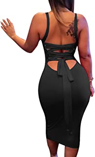 Women's Sexy Lace Up Backless Bodycon Midi Party Club Dress