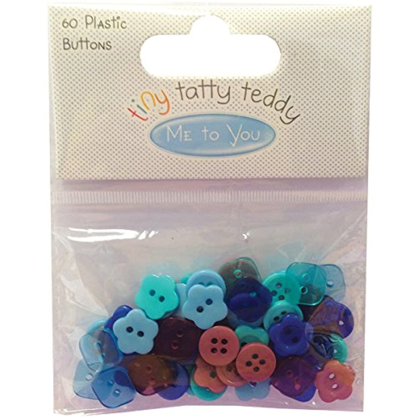 Trimcraft Tiny Tatty Teddy Boy Plastic Buttons (60 Pack) obd1028797