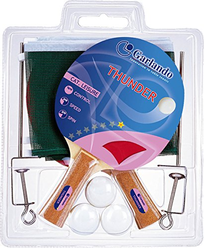 Great Deal! Garlando Thunder Plus Table Tennis Accessory Set (2 Rackets/Paddles, 3 Balls, Net and Po...