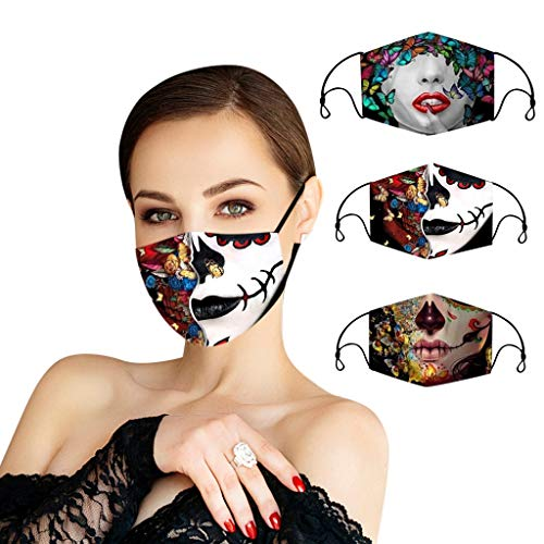 YIlanglang 1/3 PCS Reusable Face_Masks Adults Halloween 3D Printing Face Bandanas,Unisex Washable Mouth Covering Adjustable Breathable Oral Protective Anti-Haze Dust Indoors Outdoors for Men Women