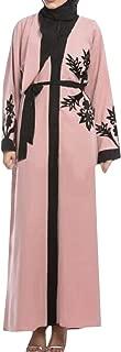 Macondoo Women's Muslim Stylish Cardigan Abaya Printed Arab Gown Long Dress