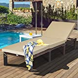 Tangkula Rattan Wicker Chaise Lounge Chair, Outdoor Patio Lounger Recliner Chair w/Adjustable Backrest, Heavy-Duty Reclining Chair Sunbed with Thick Zippered Cushion for Garden Yard Patio (1, Brown)