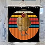 Vintage Huhn Duschvorhang für Badezimmer, 183 x 214 cm, wasserdicht, mit 12 Kunststoff-Haken, waschbarer Badvorhang