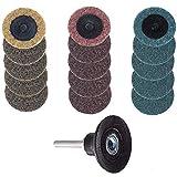 Bestgle - Lote de 15 discos de lijado de bloqueo de rodillo de cambio rápido, 3 tipos de superficie de pulido, disco con portadiscos Roloc