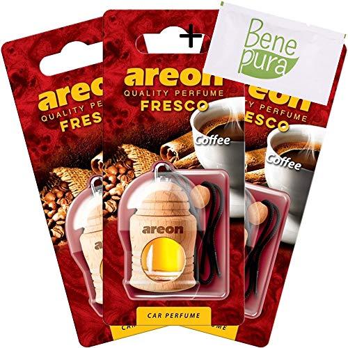 AREON Auto Lufterfrischer Parfüm Fresko 4 ml - Kaffee-Duft - Hängende Flasche Diffusor mit Echtholzdeckel, langlebig, Set von 3