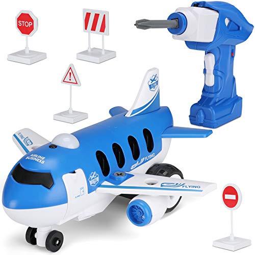 Hautton Desarmar Juguete DIY Avión de Control Remoto con Taladro Eléctrico, Juguetes de Aprendizaje de Construcción Stem para Niños Regalo para Niños Niñas de 3 a 7 Años