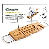 Utoplike Bamboo Bathtub Caddy Tray, Expandable Bath Shelf Across Tub Shelf with Stainless Steel Rack (Rubber Grips) to Organizer Book Wine Glass Tablet Phone Canddle | Razor Bath Pouf Ball