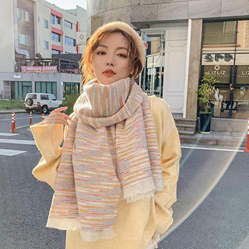 mlpnko Duan teñido de Bufanda de rebaba Bufanda de Cachemira de imitación Chal a Cuadros Doble Uso cálido Collar de Estudiante Femenino