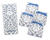 Elodie Essentials Scented Drawer Sachets - for Lingerie Drawers, Linen Cabinets, and Closets - Four (4) Large Gift Wrapped Packets - Royal Damask Print - Fresh Linen