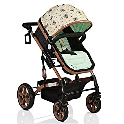 Pavo Italia Luxury 600D Linen Stroller Cum Carry Cot with One-Touch Braking System (Green, 6-36 Months),Pavo Italia