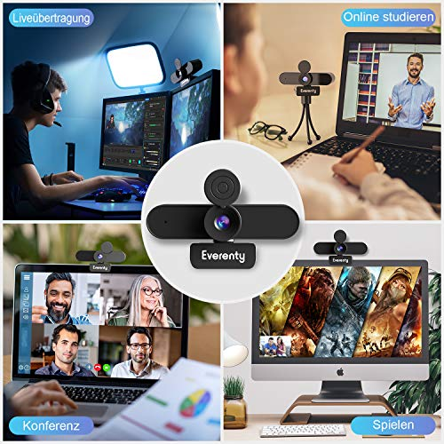 Everenty Webcam mit Microfon 2K 1440p Full HD,mit Abdeckung und Stativ,Duale Stereo Mikrofon, Laptop PC Webkamera für Video-Streaming, Konferenz, Spiele, Kompatibel mit Windows/Linux/Mac OS/Android