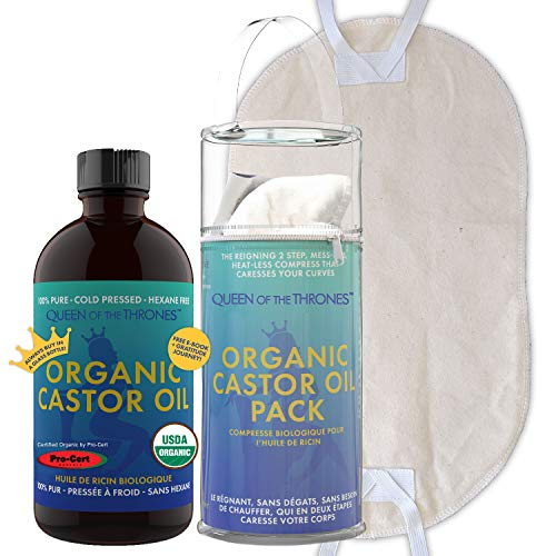 Queen of the Thrones Organic Castor Oil & Pack Bundle - 500mL (16.9oz) | USDA Certified, Cold Pressed, Hexane Free, Extra Virgin Oil paired with an Adjustable Reusable Organic Cotton Eco Friendly Compress Pack - Improve Digestion, Reduce IBS/Bloating