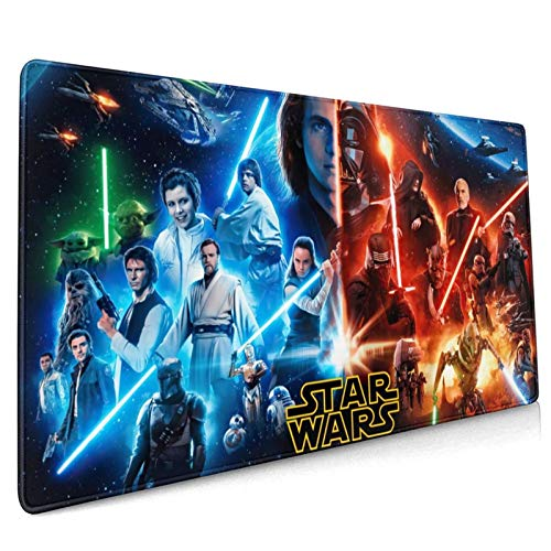 Star-Wars Mouse Pad Large Gaming Mouse Pad Computer Keyboard Mouse Mat Thicken Non-Slip Mousepad Rubber Base and Stitched Edges for Game Players Office 35.4x15.7 inch