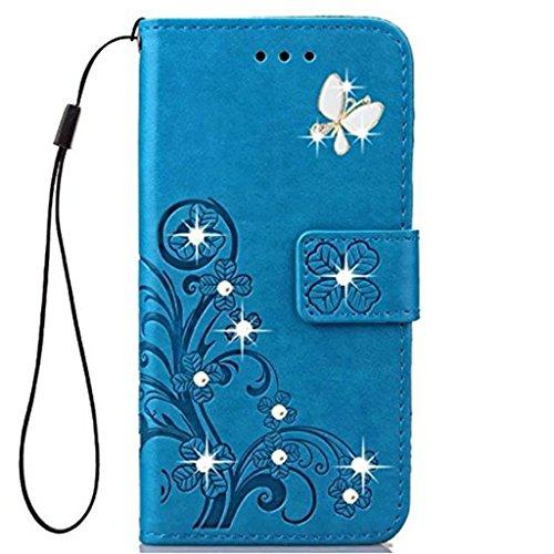 JOMA-E Shop Funda para Motorola Moto E5, Moto G6 Play, hecha a mano con 3D Bling Diamond PU cuero con soporte para tarjetas, funda tipo cartera para Motorola Moto E5/Moto G6 Play (azul)