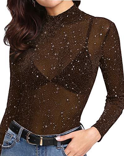 MANGOPOP Women's Glitter Sheer Mesh Tops Tee Blouse Clubwear (1111 (Brown), Large)