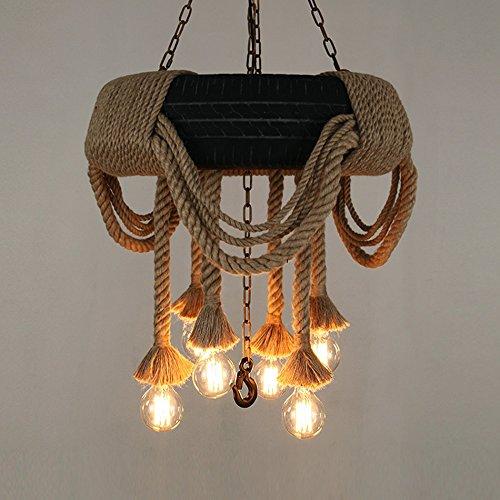 Lying Chandeliers de corde de chanvre de pneu, industrie créative de salon de restaurant rétro accrochant des lumières E27 d'ingénierie de décoration de café trouver (taille : 60 * 110CM)