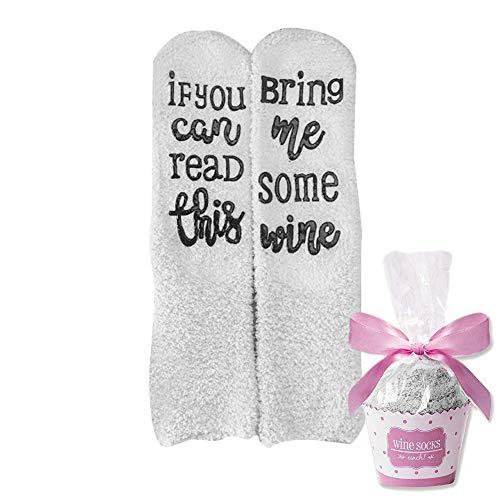 Kylewo Wein-Socken/Kaffee-Socken, Wein-Socken mit Spruch, If You can Read This Bring me Some Wine - Für Weinliebhaber, Geburtstags-Geschenk für Frauen