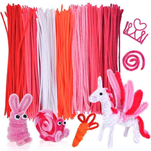 eZAKKA Craft Pipe Cleaner 700 Pcs Chenille Stems 7 Colors Pipe Cleaners for Valentine's Day DIY Art Craft Creative Decorations (6 mm x 12 inch)