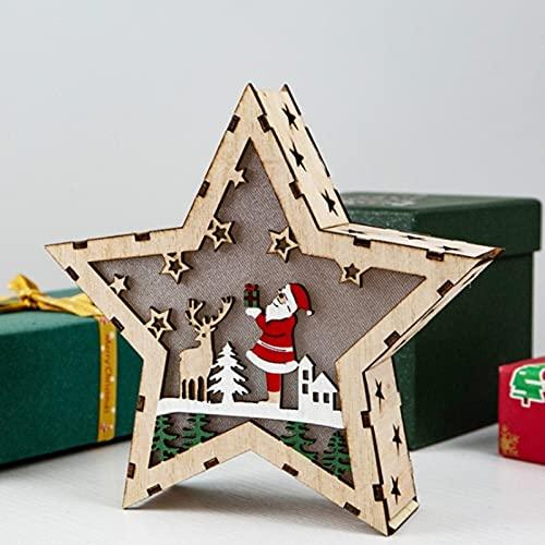 PPuujia Decoración de Navidad de madera, decoración de Navidad, casa de madera brillante, cabaña de troncos, adornos de luz de escritorio (color: 5)