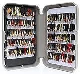 Lakeland Fishing Supplies G Fly Box + Moscas de trucha de ninfa de cabeza dorada mezclada – mezcla de tres tamaños 8-12 – 50 unidades