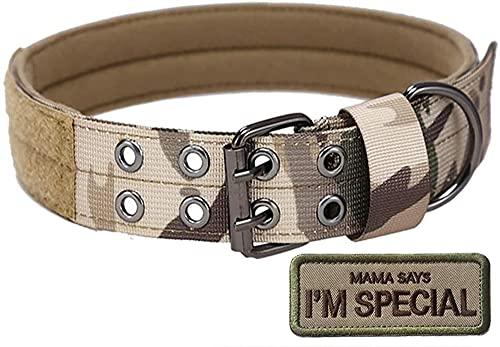 S.Lux Collare di Cane, Collare per Cani Regolabile di Addestramento Militare di Nylon del Collare Tattico con la Fibbia del Metallo per i Piccoli Cani di Taglia Medio Grande (Camuffare, L)