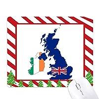イギリス地図ユニオンジャック旗国地図英国 ゴムクリスマスキャンディマウスパッド
