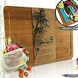 Le Flair® - Set 3 in 1, tagliere in legno di bambù, con sacchetto per frutta e verdura + tappetino da tagliere, 42 x 31 x 2,2 cm, tagliere in bambù con scanalatura e piedini in feltro