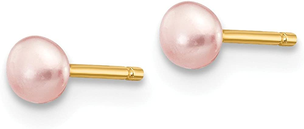 Solid 14k Yellow Gold 3-4mm Pink Button FW Cultured Pearl Stud Earrings